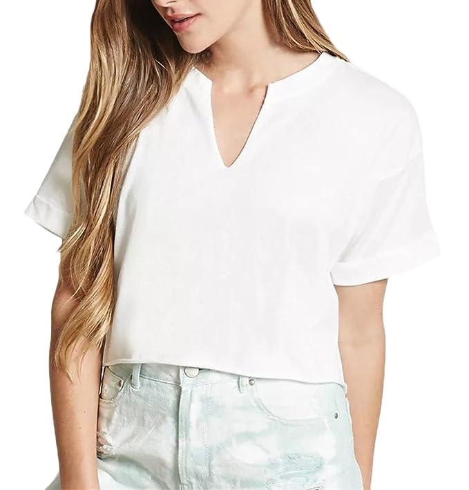 Camisetas Mujer Verano Basicas Manga Corta V Cuello Color Sólido Crop Top Elegantes Ropa Modernas Moda Fiesta Casual Anchas Simple Corta T Shirt Blusas: ...