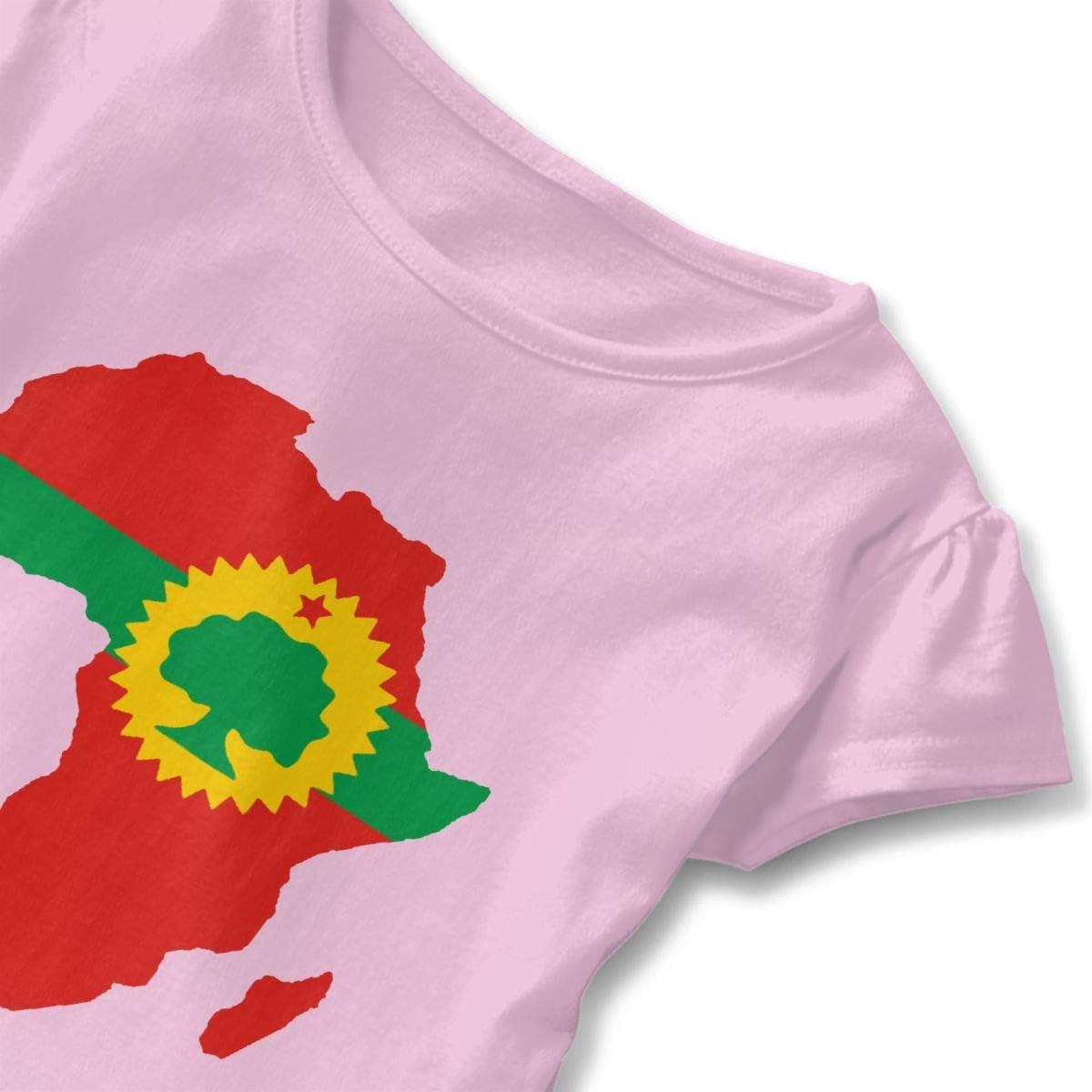 Merahans Oromo Flag On Map of Africa Toddler Girls Ruffle Short Sleeve Soft Cotton T Shirts