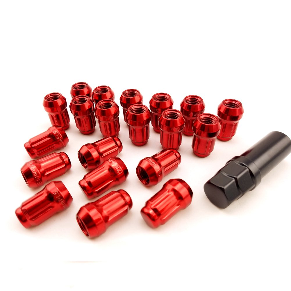 X-ZONE Nuts Red M12xP1.5//1.25 20pcs Groove Car Wheel Lug Nuts Anti-theft Security Nuts Alloy Steel Closed Titanium, M12*1.5