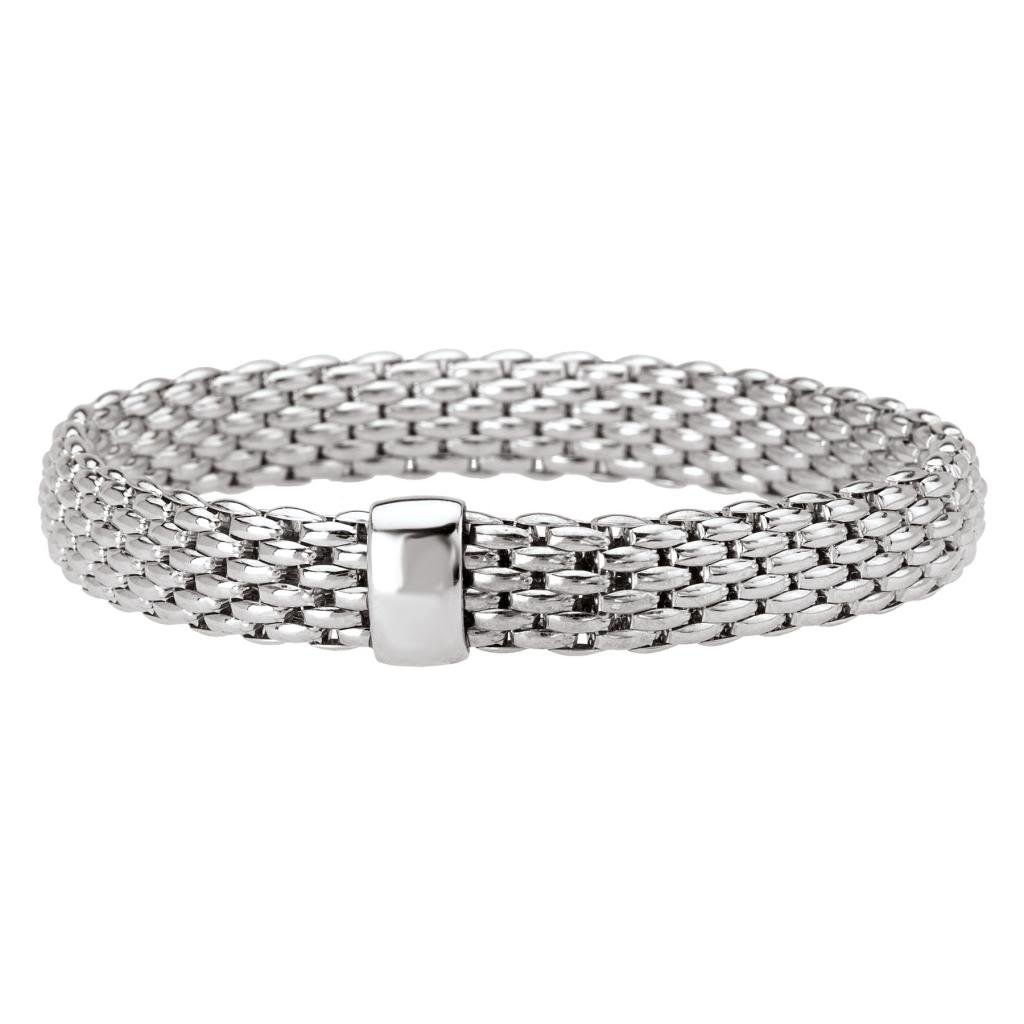 Rhodium over 925 Silver Thick Woven Stretch Bangle Bracelet- 7.5 IN