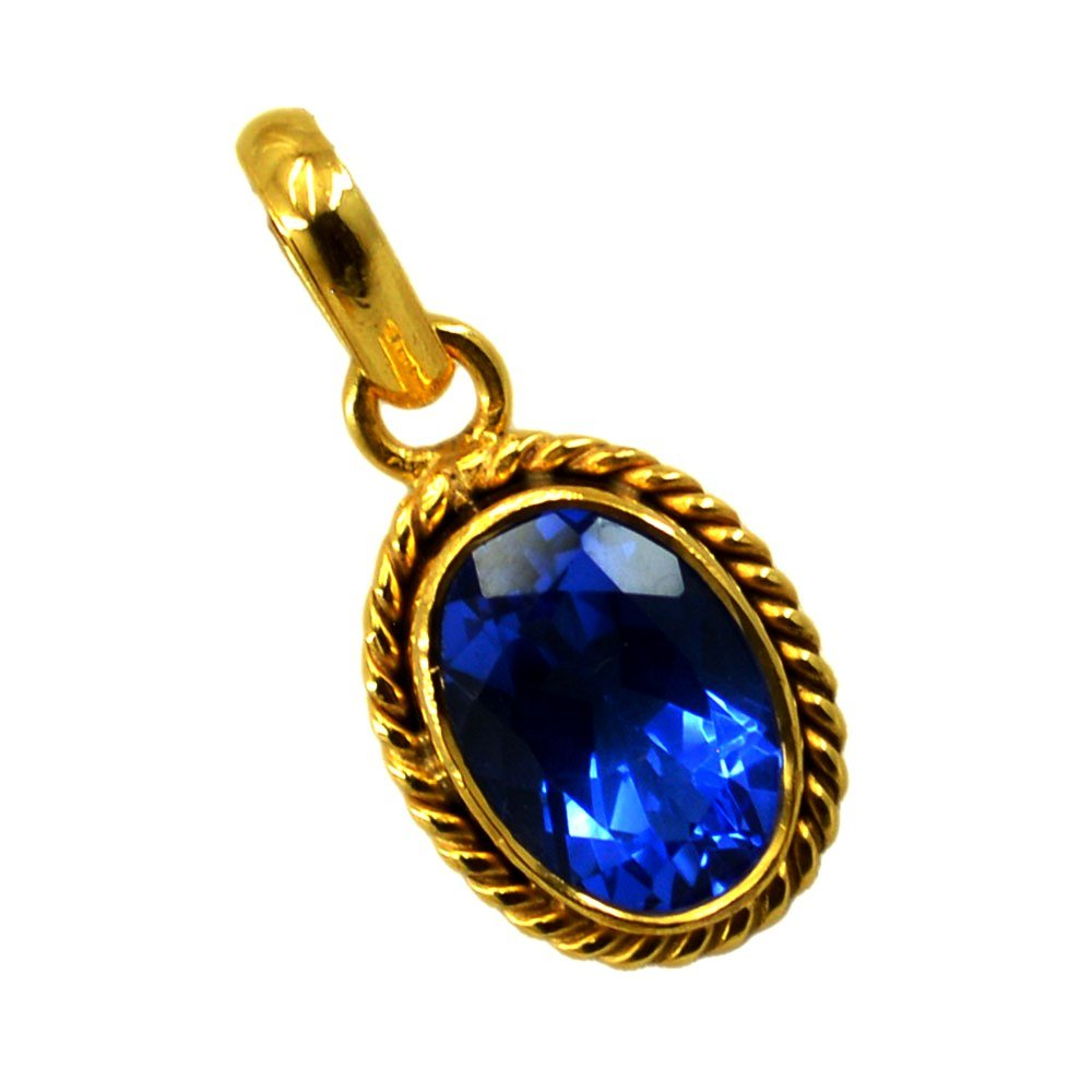 Jewelryonclick Oval Blue Sapphire CZ Pendant for Women Gold Plated Handmade Fashion Necklace Jewelry Gift