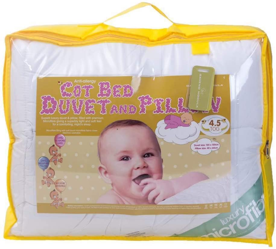 BeddingHome Anti-Allergy Baby Toddler Cot Bed Quilt//Duvet with Pillow 4.5 7.5 /& 9 Tog Hollowfibre Filling Pillow, Cot Pillow