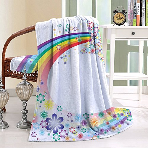 HAIXIA Blanket Nature Spring Floral Rainbow Stars Flowers Cheerful Fun Design (Joseph Wool Flannel)