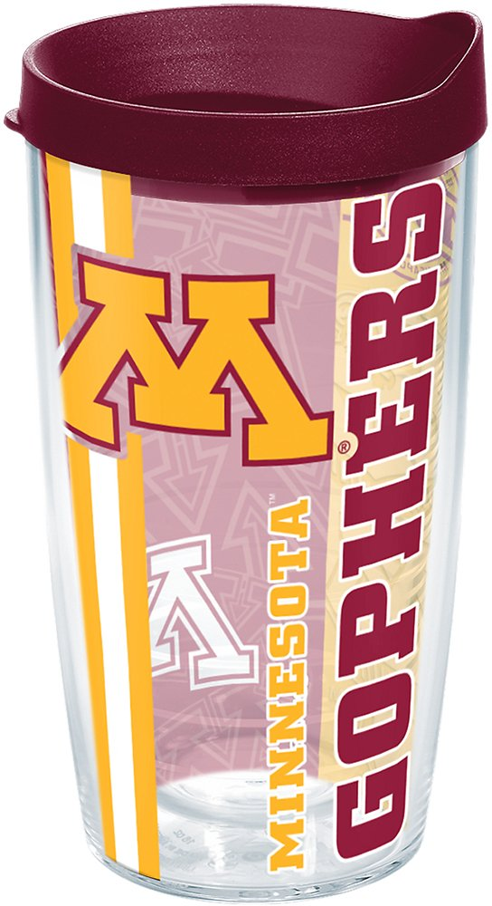 Tervis 1219946 Minnesota Golden Gophers College Pride Tumbler with Wrap and Maroon Lid 16oz, Clear by Tervis