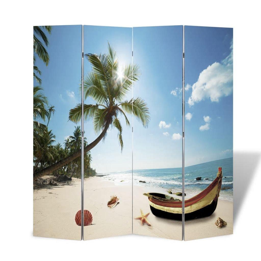 mewmewcat Paravent pour Chambre//Salon//Bureau Imprim/é sur 2 Faces Mer Plage Vert Sable100/% PVC 160 x 180cm