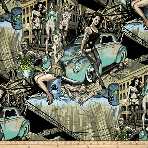 Henry Alexander Fabric (Alexander Henry Skullduggery Zombie Apocalype Turquoise/Grey Fabric by The Yard)
