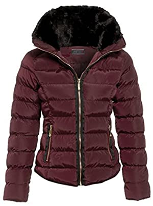 Womens Hood Button Thick Faux Pocket Quilted Winter Proof Zip Outerwear Concealed Jacket Shower Drawstring Fur Warm Padded_G109_Wine_18