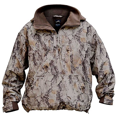 Natural Gear Camo Waterfowl Pullover, Camo Hunting Coat for Women and Men with Fleece Lining, 100% Dri Stalk Material (Medium)