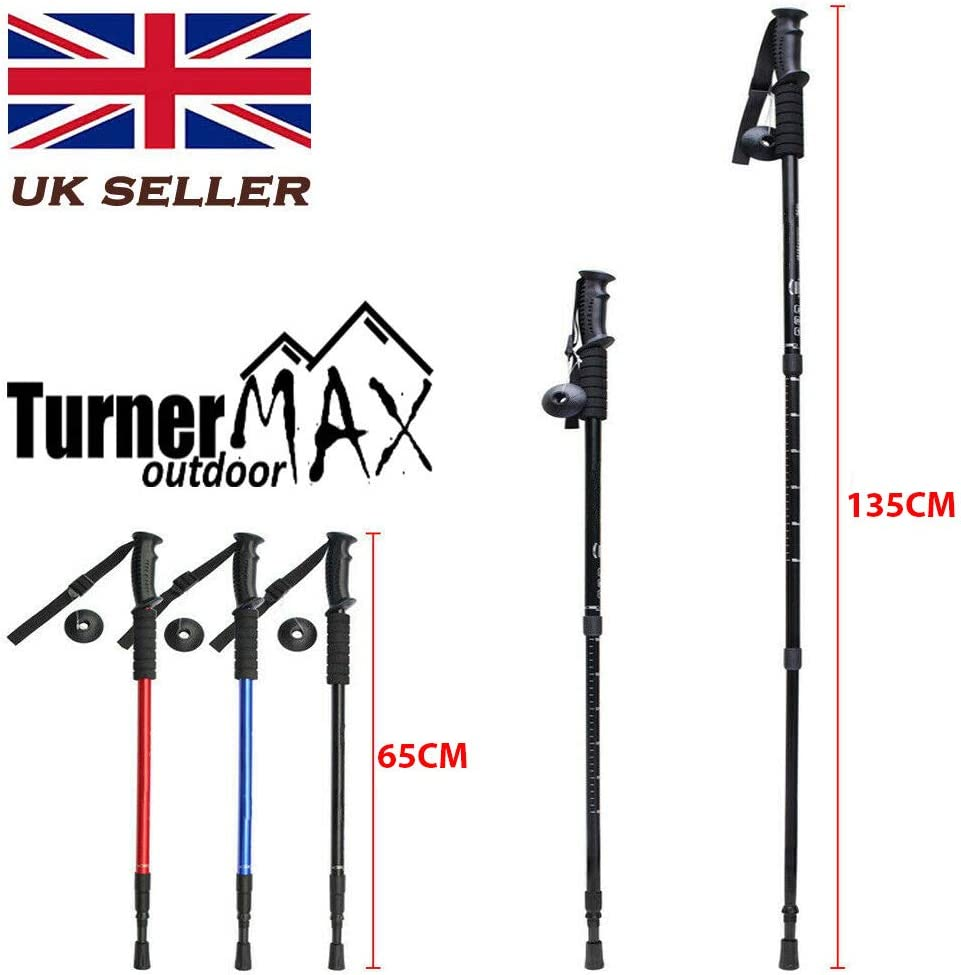 TurnerMAX 2 x 3 Section Antishock Telescopic Hiking Trekking Walking Pair Stick Pole 65-135cm