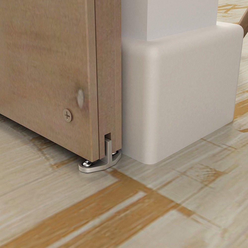 Black Aluminum Floor Guide for Sliding Barn Door Hardware Set of 2 TY