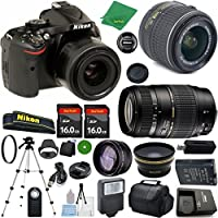 Nikon D5200 24.1 MP CMOS Digital SLR, NIKKOR 18-55mm f/3.5-5.6 Auto Focus-S DX VR, Tamron 70-300mm DI LD Zoom, 2pcs 16GB ZeeTech Memory, Case, Wide Angle, Telephoto, Flash