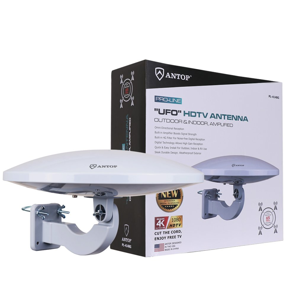 ANTOP PL-414BG UFO 360 Degree Amplified Outdoor/Attic HD TV Antenna with Built-in 4G LTE Filter-65 Mile Long Range Omni-Directional Home/RV TV Antenna-4K UHD Ready by ANTOP
