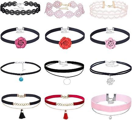MingJun - Gargantilla choker ajustable de terciopelo colorido con encaje de rosa – Set de collar clásico gótico con colgante (Pack de 12): Amazon.es: Joyería