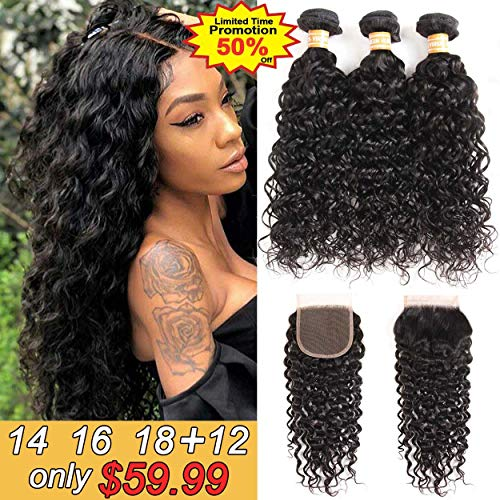 VTAOZI Brazilian Water Wave 3 Bundles with Closure 8A 100% Virgin Wet and Wavy Human hair Weave Bundles with 4x4 Lace Closure Free Part Natural Color (14 16 18+12 Free Part) (100 Human Hair Wet And Wavy Weave)