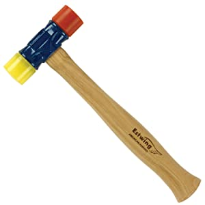Estwing Rubber Mallet- 12 oz Double-Face Hammer with Soft/Hard Tips & Hickory Wood Handle - DFH12