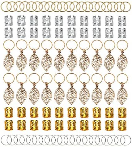 Fani 100pcs Gold &Silver Hair Rings Aluminum Dreadlocks Beads Gold Leaves Pendant Decorations Metal Cuffs Braid Jewelry for Hair Set Hair Clip Hair Accessories