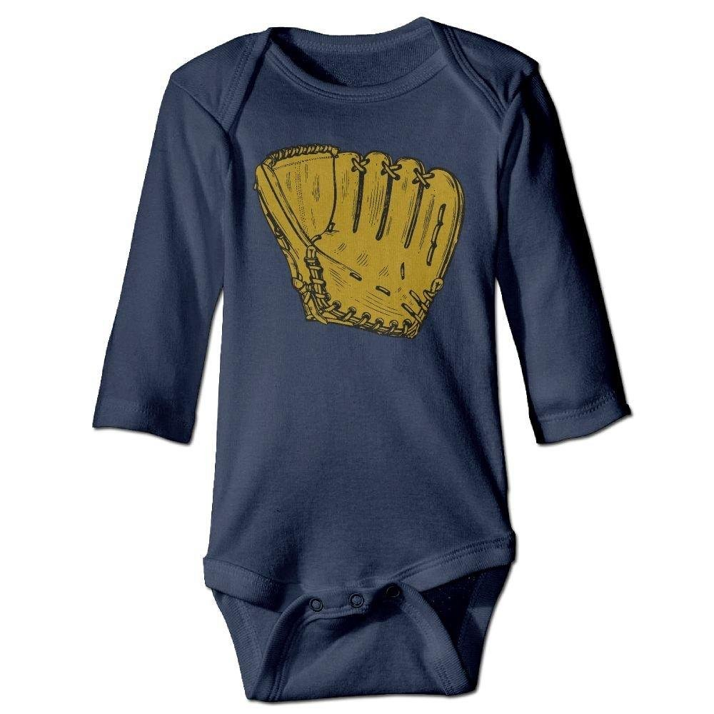 braeccesuit Babys Baseball Glove Long Sleeve Romper Onesie Jumpsuit Bodysuit