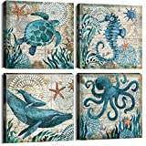 Teal Home Wall Art Decor - Ocean Theme Mediterranean Style Canvas Prints Framed and Stretched Ready to Hang Sea Animal Octopus Turtle Seahorse Whale Pictures Posters Bathroom - 12 x 12' Panel Set of 4