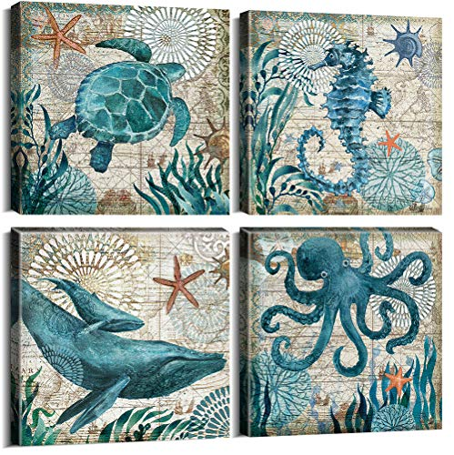 Teal Home Wall Art Decor - Ocean Theme Mediterranean Style Canvas Prints Framed and Stretched Ready to Hang Sea Animal Octopus Turtle Seahorse Whale Pictures Posters Bathroom - 12 x 12