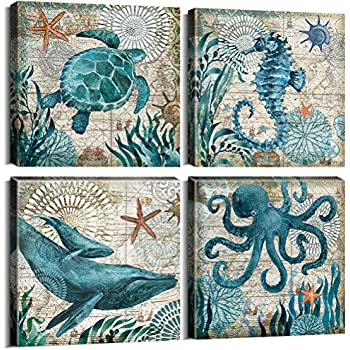 Bathroom Wall Decor Canvas prints Wall Art for Living Room Teen Room Home Decorations Kids Gifts Rustic Beach Theme Sea Turtle Octopus Horse Nautical Pictures House Office 4 Piece Set 12x12 Inch Frame