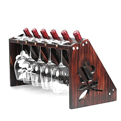 YXX- Wood Wine Racks For Countertop 5 Bottles 5 Glass Home Wooden Wine Bottle Holder