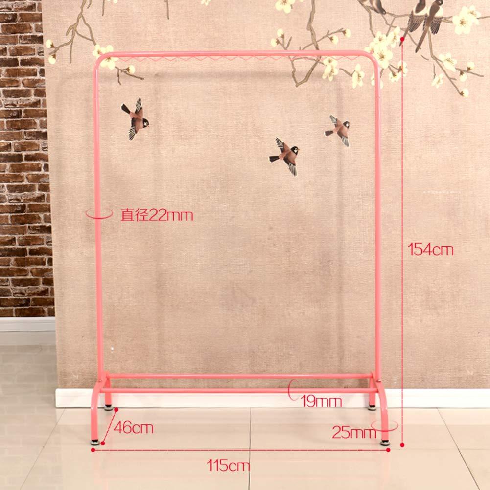 Metal Drying Rack, Heavy Industrial Pipe Garment Rack Indoor Simple Single Pole Clothing Rack-F