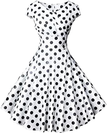 LONGYING Women's Casual Vintage V Neck Cap Sleeves Dress Midi Knee Length Party Swing Dress