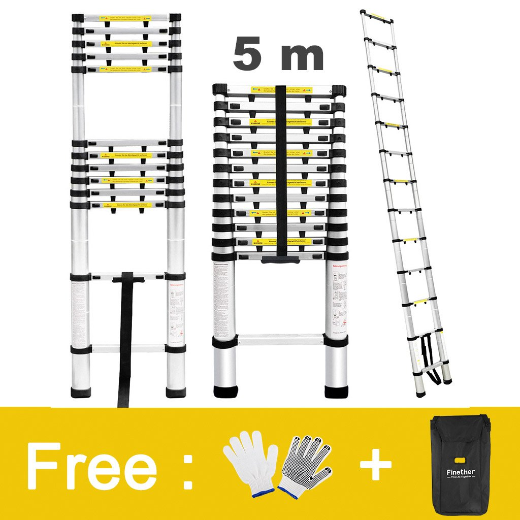 Finether 16.4ft Aluminum Telescopic Extension Ladder   Multi-purpose Telescoping Ladder,EN 131 Certified with Finger Protection Spacers, Anti-slip Treads and 331 lbs Capacity