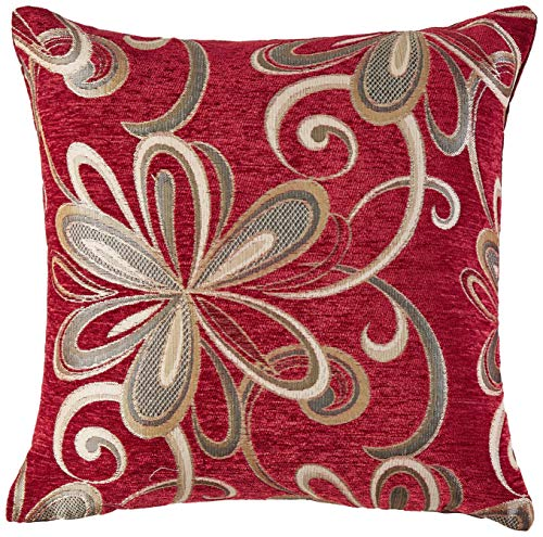 Violet Linen Chenille Chateau Vintage Floral Design Decorative Throw Pillow, 18 x 18 , Burgundy