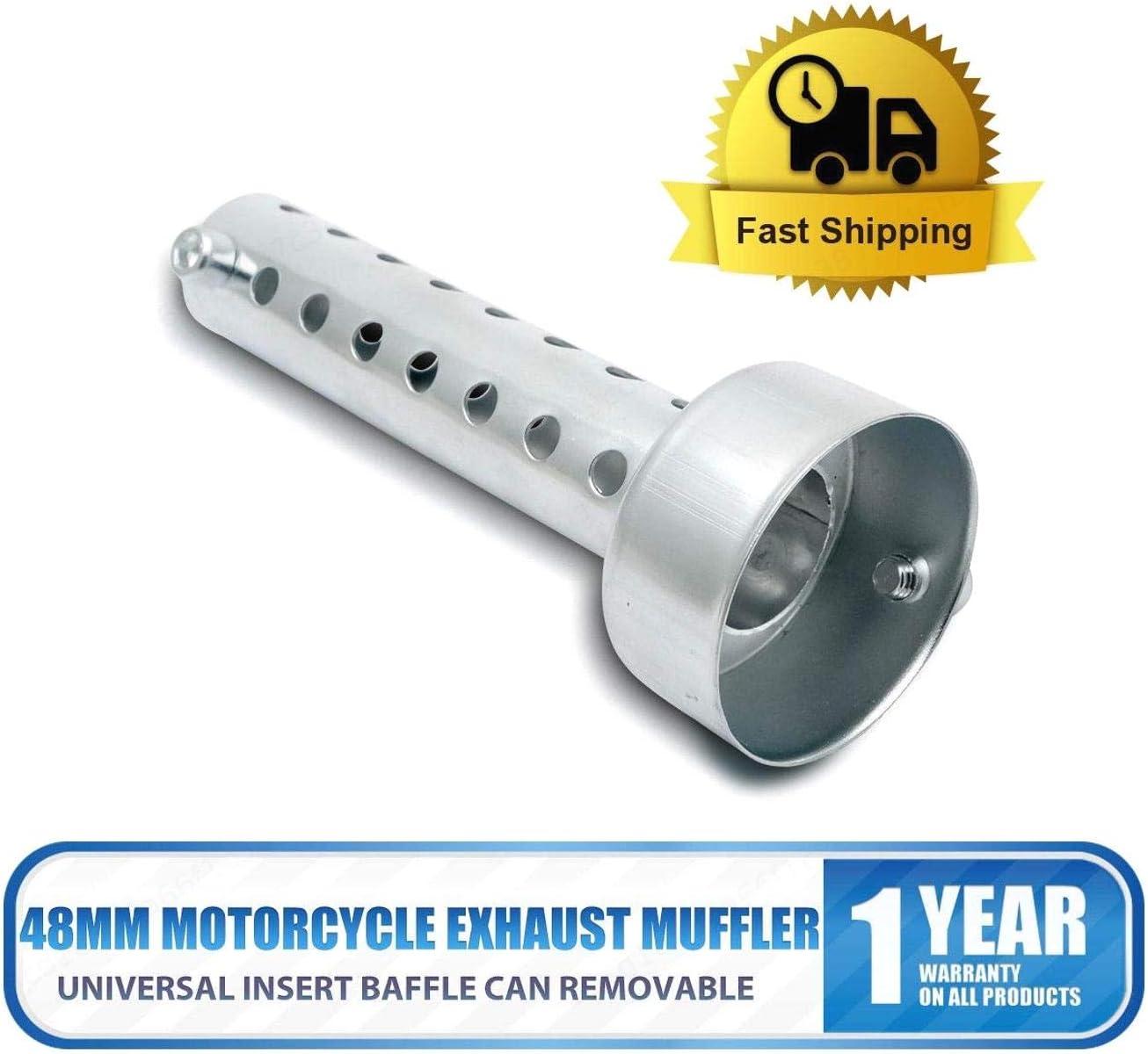 DULALA Silenciador de Tubo de Escape Universal de 60 mm silenciador de Tubo de Escape DB Killer Silenciador 60 mm silenciador de Tubo de Escape para Motocicleta
