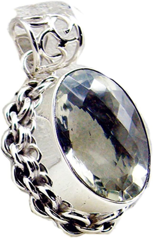 Gemsyogi Colgante de plata auténtica amatista verde para mujer, piedra natal, chakra, curación victoriana, collar ovalado