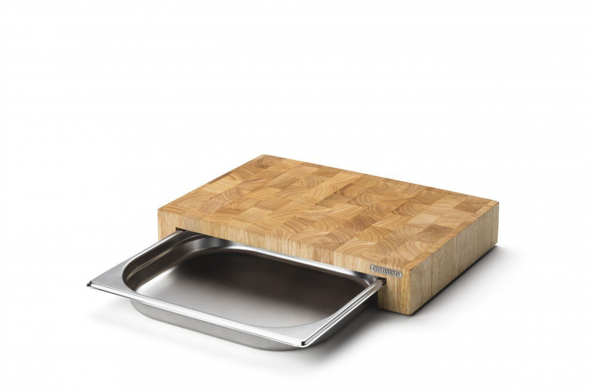 Cutting Board with Removable stainless steel Drawers by Continenta out of rubber tree wood