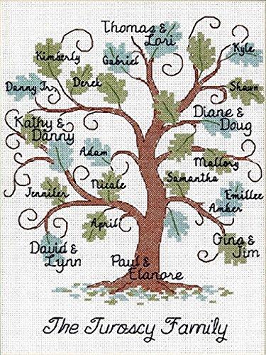 Dimensions Needlecrafts Counted Cross Stitch Kit, Curvy Oak Family Tree (Cross Tree Family Stitch)