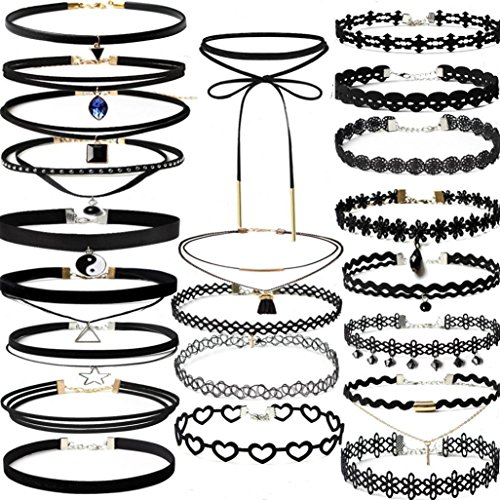 Clearance Choker Necklace,Han Shi Women 22Pieces Stretch Velvet Tattoo Lace Collars Chain (Black, L)