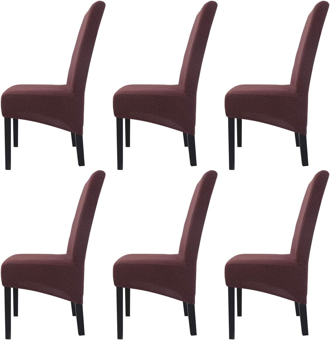 Large Size Stretch Chair Covers Pack of 2 Removable Washable Printing Fabric Chair Slipcover for Dining Room Hotel Banquet Brown