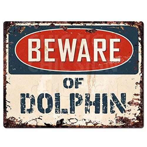 Beware of DOLPHIN Chic Sign Vintage Retro Rustic 9