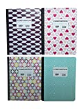 Pen+Gear Composition Notebooks 4 Pack, College Ruled, 4 Designs