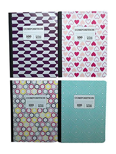 Pen+Gear Composition Notebooks 4 Pack, College Ruled, 4 Designs by Pen+Gear