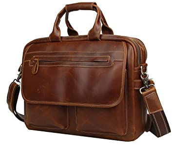a03ac6ade41 Iswee Mens Full Grain Genuine Leather Messenger Bag 14 quot  16 quot   17 quot  Laptop Business