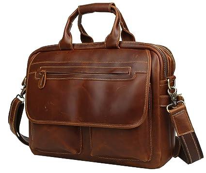 05365b0d0943 Iswee Mens Full Grain Genuine Leather Messenger Bag 14
