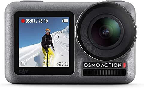 DJI Osmo Action - 4K Action Cam 12MP Digital Camera with 2 Displays 36ft Underwater Waterproof WiFi HDR Video 145° Angle, Black