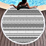 Sleepwish Aztec Beach Blanket Circle Beach Towel Black and White Geometric Tablecloth Round Yoga Mat (Triangles, 60'')