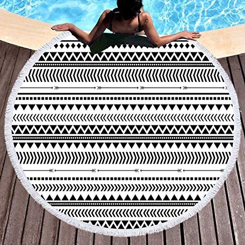 Triangles Pool Tablecloth (Sleepwish Aztec Beach Blanket Circle Beach Towel Black and White Geometric Tablecloth Round Yoga Mat (Triangles, 60