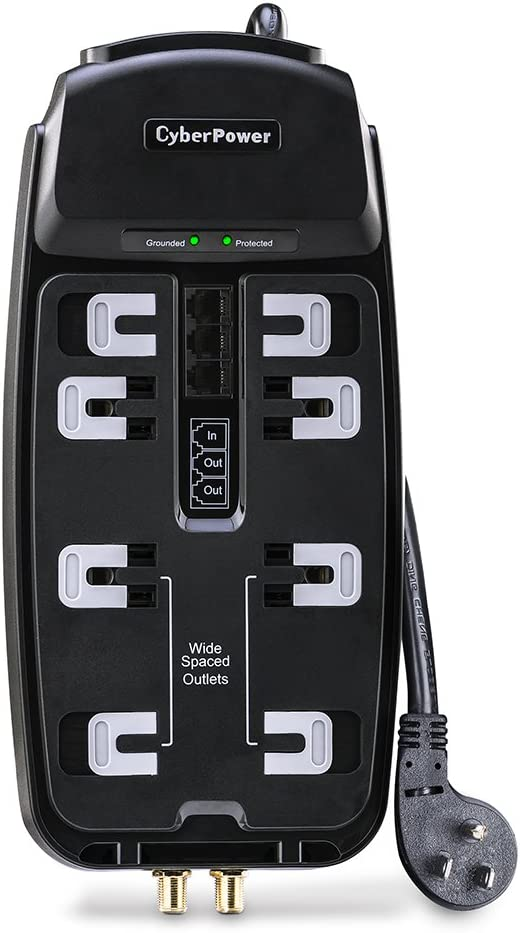 CyberPower CSHT808TC Home Theater Surge Protector, 2850J/125V, 8 Outlets, 8ft Power Cord, Black