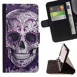 BullDog Case - FOR/Samsung Galaxy S5 Mini, SM-G800 / - / rock roll skull bling floral death metal /- Monedero de cuero de la PU Llevar cubierta de la caja con el ID Credit Card Slots Flip funda de cuer