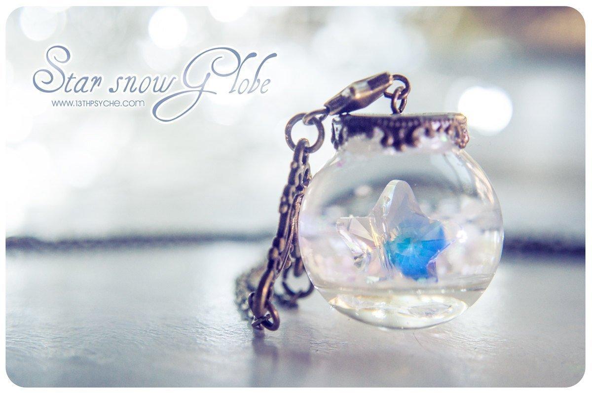 Star Snow-Globe necklace, star necklace, glass orb necklace, snow necklace, gift for women, swarovski necklace, christmas wish necklace, … …