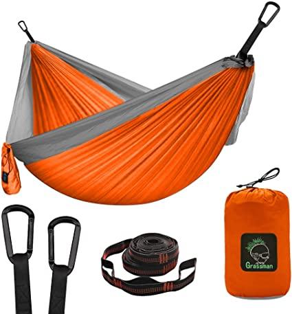 Amazon.com: Camping Hammock Double & Single Portable Hammock with Tree Straps, Lightweight Nylon Parachute Hammocks Camping Accessories Gear for Indoor Outdoor Backpacking, Travel, Hiking, Beach: Sports & Outdoors