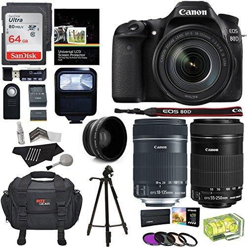 Canon EOS 80D Digital SLR Kit EF-S 18-135mm f/3.5-5.6 Image Stabilization USM & Canon EF-S 55-250mm Lens + Xit XT67WAB 67mm 0.43X Wide Angle Auxiliary Screw On Lens + Memory Cards + Accessory Bundle [並行輸入品]   B07F3LGP4F