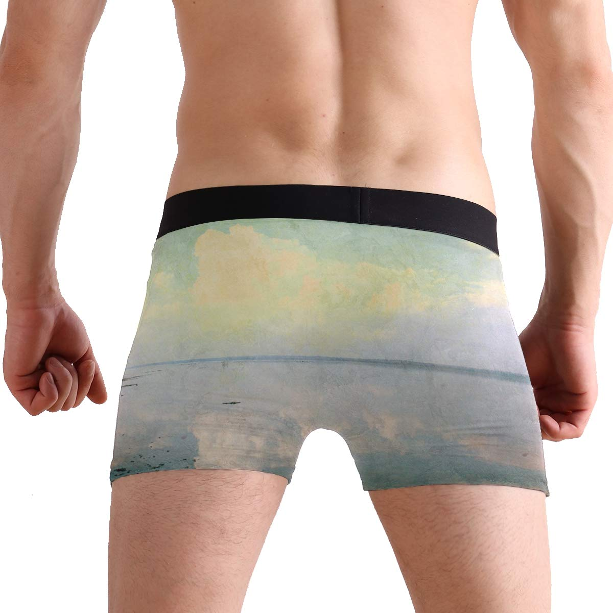 Hipster Unique Grunge Sea View Old CyanBoxer Briefs Mens Underwear Boys Breathable Stretch Low Rise Trunks