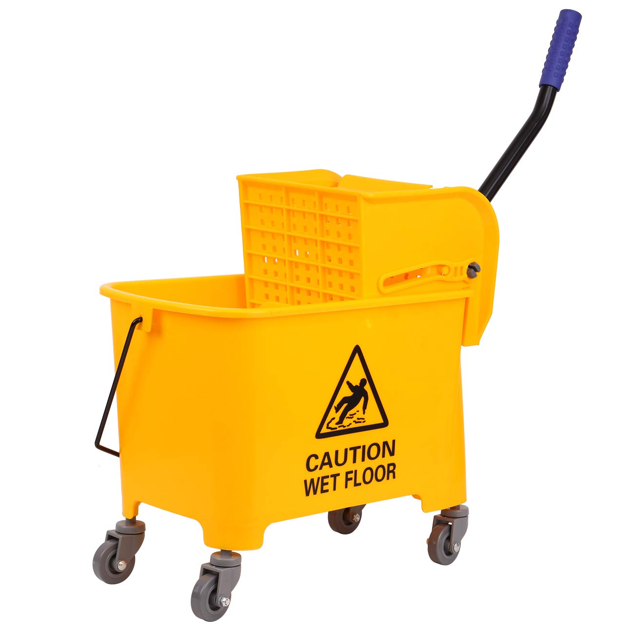 TryE Commercial Mop Bucket with Side Press Wringer Combo Bucket 21 Quart Yellow